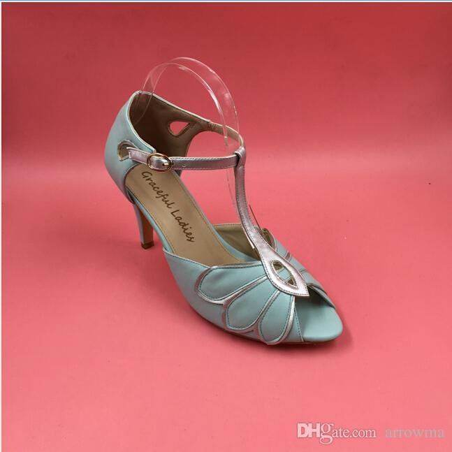 Zapatillas de boda en real de menta vintage Bombas de boda Mimosa Correas en T Cierre de hebilla Baile de fiesta de cuero 3.5