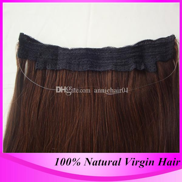 2018 2016 Hot Sale Cheap Grade 6a Human Remy Flip In Halo Hair Extensions 100 Natural Straight Brazilian Real Fish Line Extension From