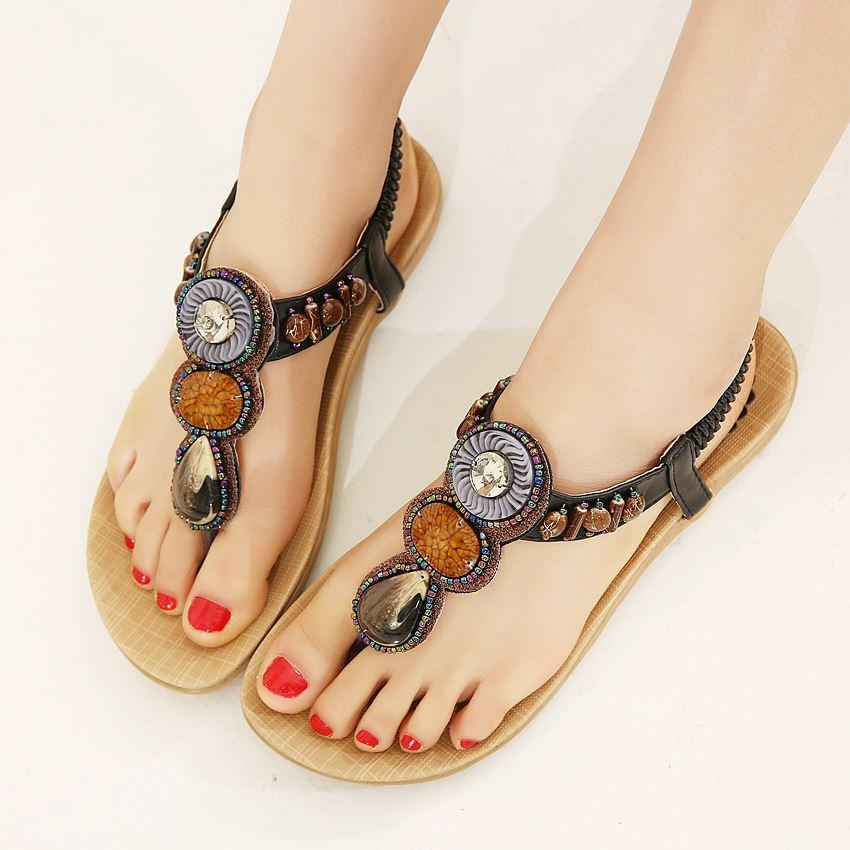 0120564010474 Woman 2016 New Summer Flat Sandals Ladies Summer Bohemia Beach Flip Flops  Shoes Women Shoes