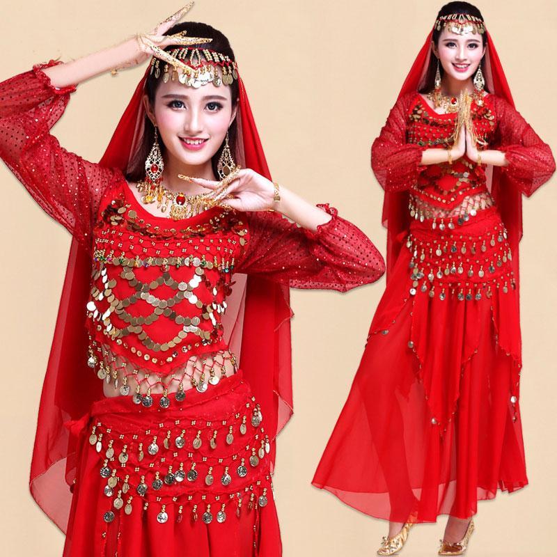 Acquista Set 4 Pezzi India Egitto Danza Del Ventre Costumi Costumi Di  Bollywood Abbigliamento Indiano Abiti Di Danza Del Ventre Belly Dancing A   22.12 Dal ... 17d952939ca