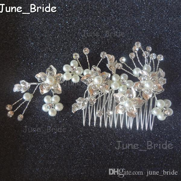 579006450785 Elegant Bridal Comb Handmade Crystal Pearl Rose Gold Silver Wedding Hair  Accessories Hair Combs Headpieces Jewelry Real Photo Bride Hair Flower Hair  ...
