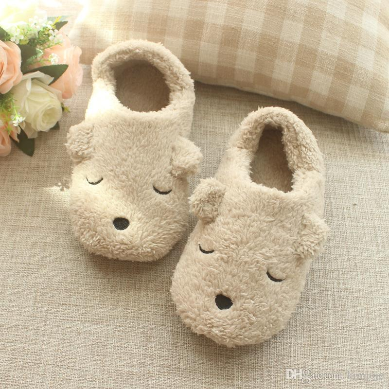 37e764df18e48 Cute Bear Winter Women Home Slippers For Indoor Bedroom House Soft Bottom  Cotton Warm Shoes Adult Guests Flat Christmas Gift Italian Shoes Mid Calf  Boots ...