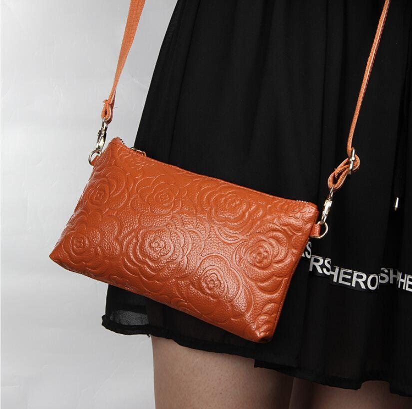 Women Clutches 2016 Designer Fashion Roses 100%genuine Leather ...