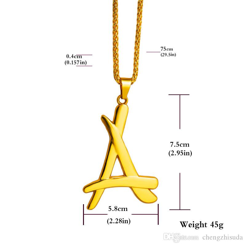 Newest superstar A letter pendant necklace 18K real gold plated thin chain men colgantes hip hop hombre N193