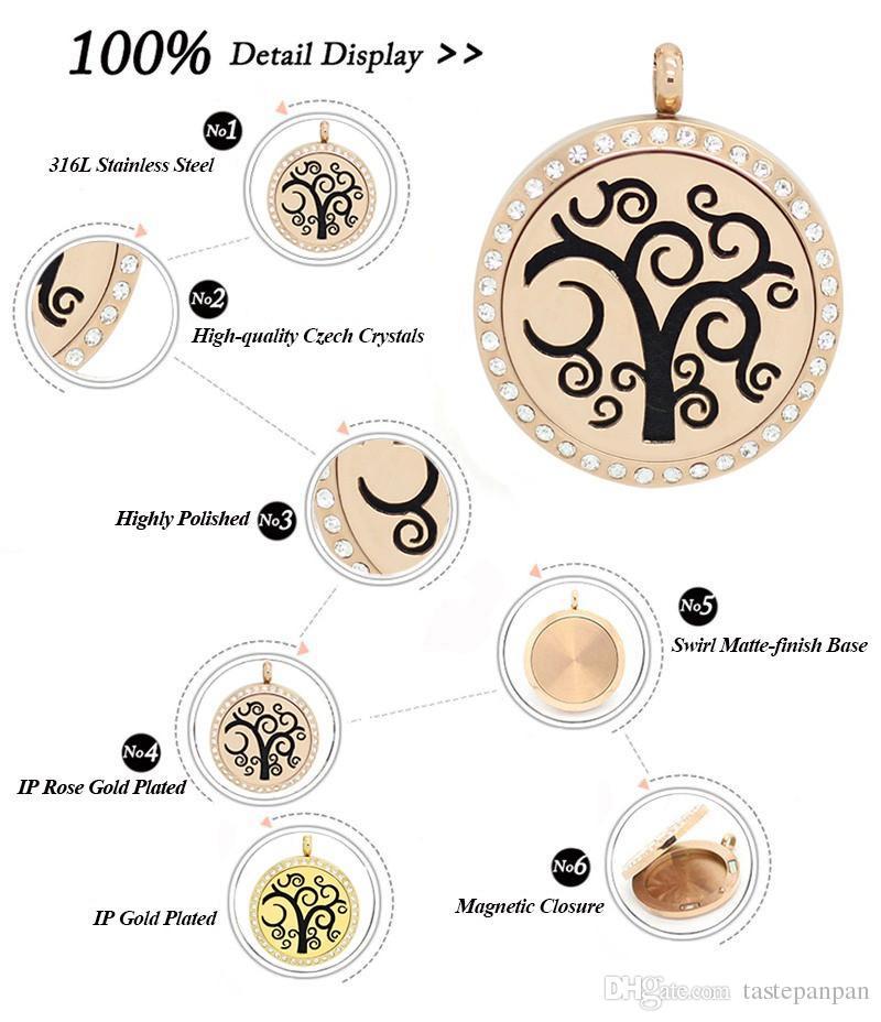 mit kette als geschenk! Neue trendige 316L Edelstahl Silber Gold Rose Gold Parfüm Medaillon 30mm ätherisches Öl Diffusor Locekt Halskette