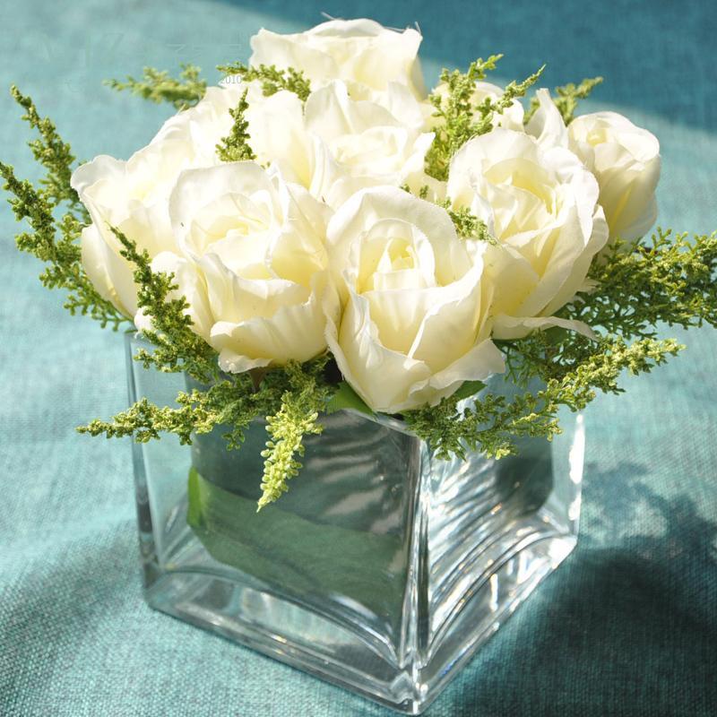Small Head Artificial Rose Glass Transparent Vase Set For Desk