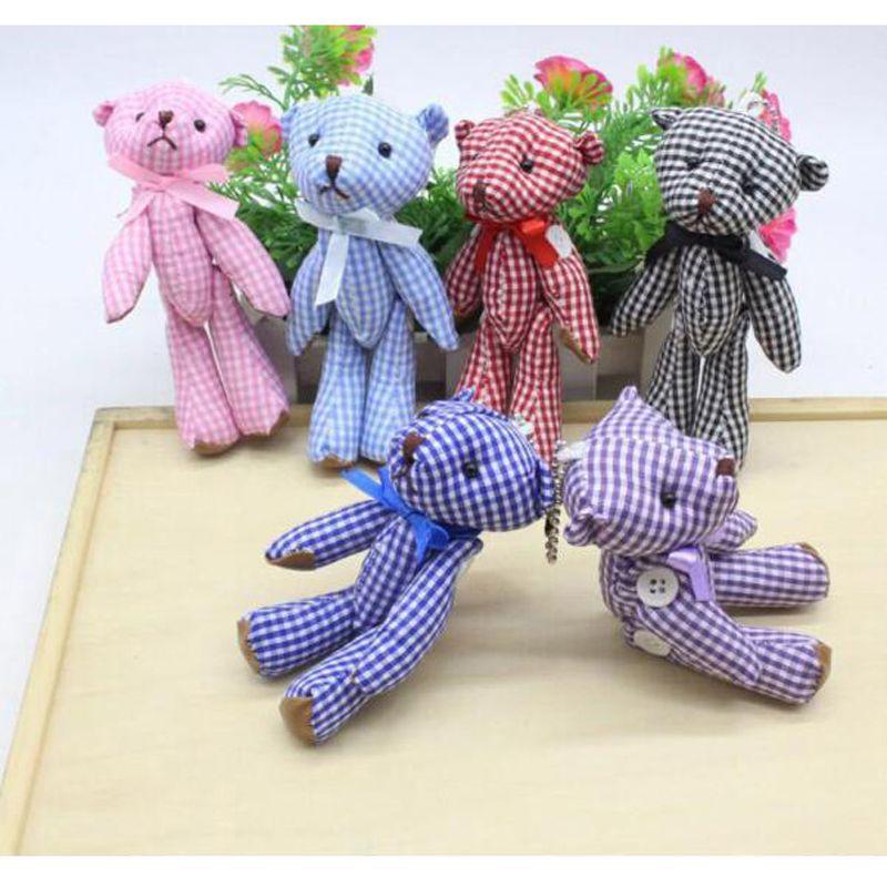 Kawaii Маленькие Совместные Плюшевые Мишки Фаршированные Плюшевые 11 СМ Игрушки Мишка Тедди Мини Медведь Тед Медведи Плюшевые Игрушки Свадебные Подарки 6 Шт. / Лот 045