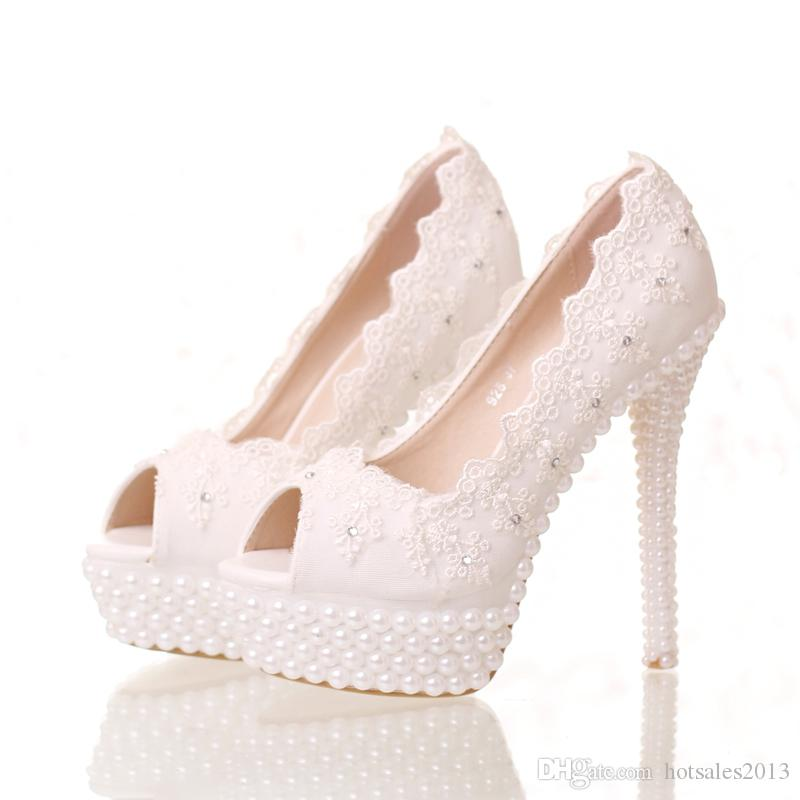 New White Lace Peep Toes Wedding Shoes Platform White Party Pumps 14cm High Heel Bride Shoes Thin Heel Bridesmaid Shoes