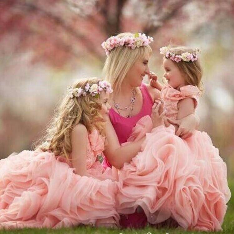 Encantador vestido rosa para niñas pequeñas Vestido de niña de las flores 2016 Vestido de fiesta de organza para niños Vestidos de noche Vestidos de Daminha