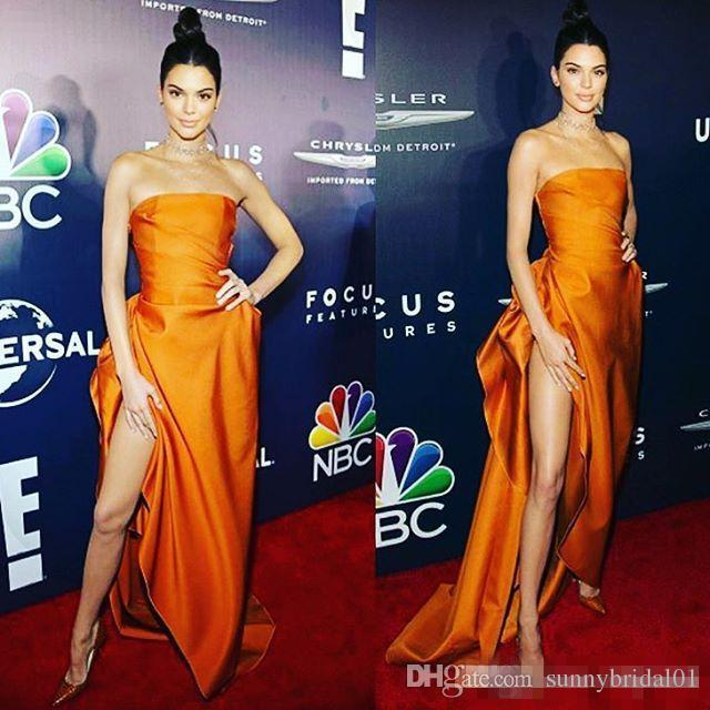 Sexy Kendall Jenner Celebrity Dresses High Side Split Strapless Ruffles Satin Floor Length 2017 Fashion Cheap Prom Gowns Evening Party Dress