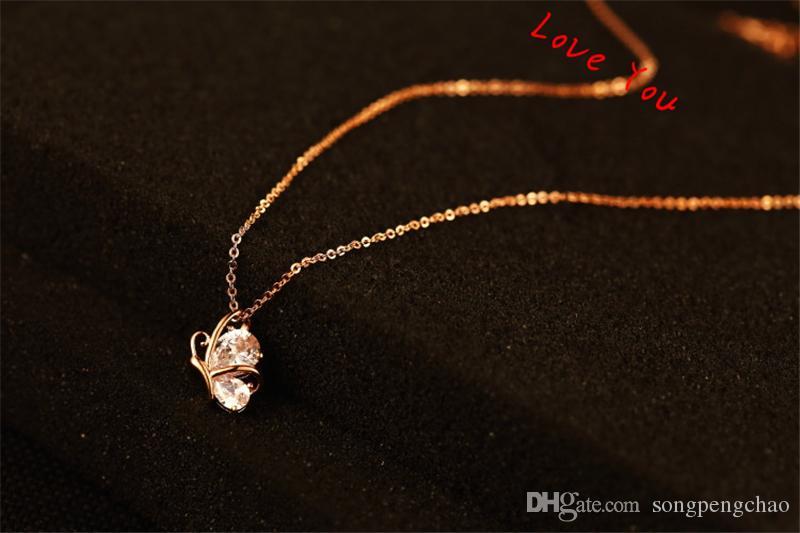 Pendentif papillon Collier de mode cristal Zircon Choker Collier en or Collier plaqué chaîne Bijoux Collier pour femmes Accessoires