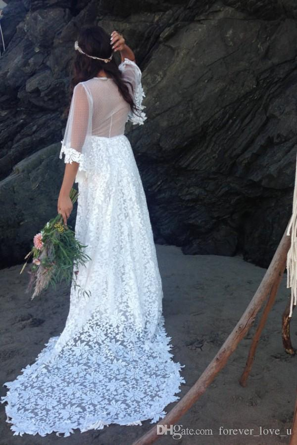New Beach Wedding Dress Sexy Illusion Bodice Sheer Back Vintage Bohemian Lace Bridal Gowns with Flare Sleeves Court Train Cheap