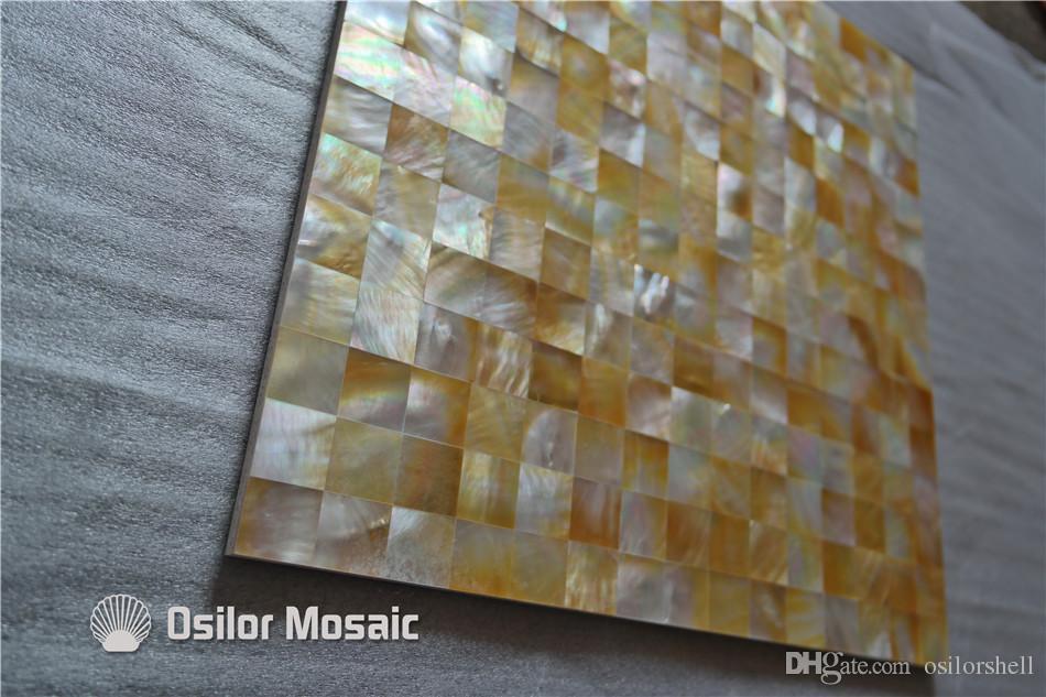 желтый оболочки перламутр мозаика плитка для интерьера украшения дома ванная комната и кухня настенная плитка 20x20mm