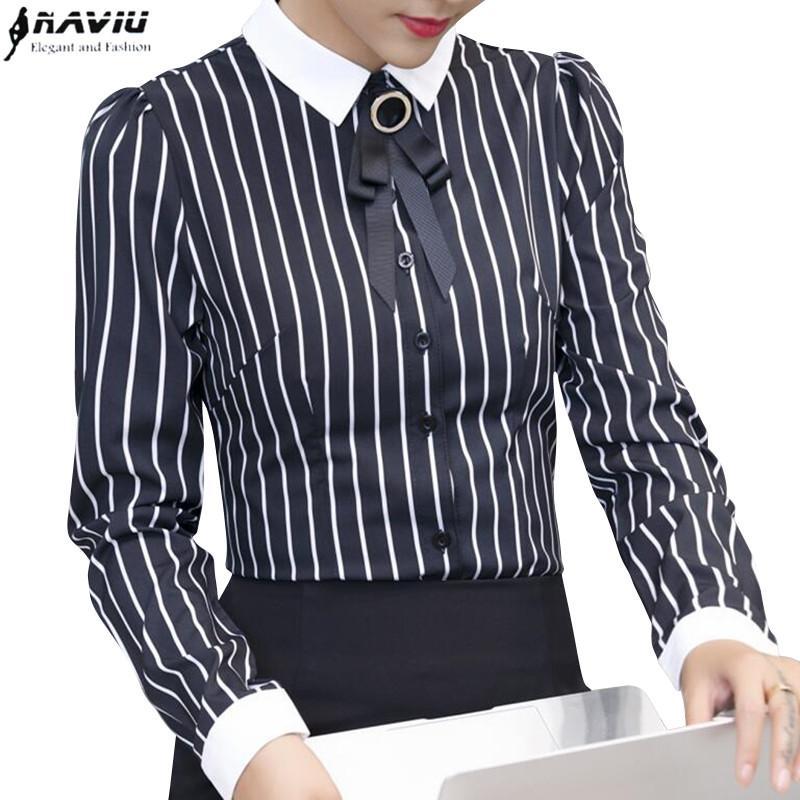 cdef7fafad Compre Las Mujeres Elegantes Negro Raya Blanca Camisa Moda Formal Corbata  De Moño De Manga Larga De Gasa De La Blusa De La Oficina De Las Señoras  Trabajan ...