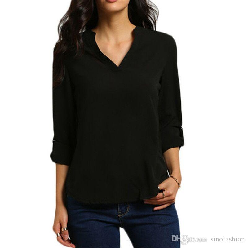 Summer Chiffon Blouse Female Sexy V-neck Long Sleeve Loose Casual Ladies Shirts 2018 New Women Office Tops Blouses Clothes