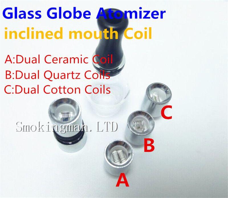 Hot Sale Glass Globe Atomizer Glass Tank Wax Vaporizer Dual Quartz Ceramic Rod Cotton Coil Donut Coils for 510 thread battery ecigs Factory