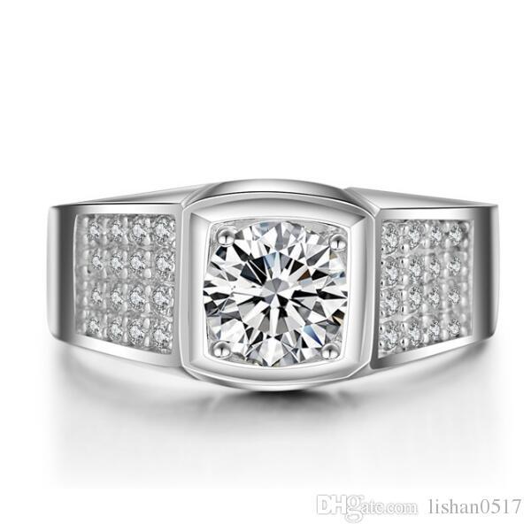 LSL Jewelry Men Ring 1.25 Ct Creada en laboratorio SONA anillo de diamante simulado sintético para hombres 925 Sterling Silver Ring platino plateado joyería