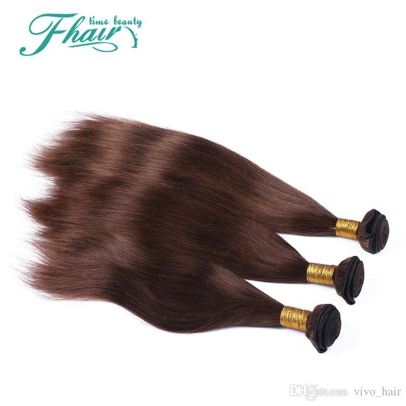 Produtos de alta 9A Peruano Virgem Cabelo Liso # 4 Cor de Chocolate 3 Pacotes 10