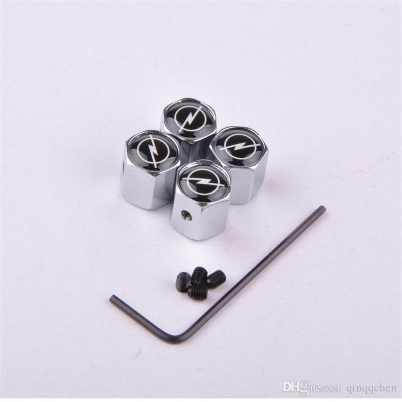 Car styling Car Anti-Theft Wheels Tires Valves Tyre Stem Air Caps Stainless Car Wheels Tires Valve Caps case for Opel