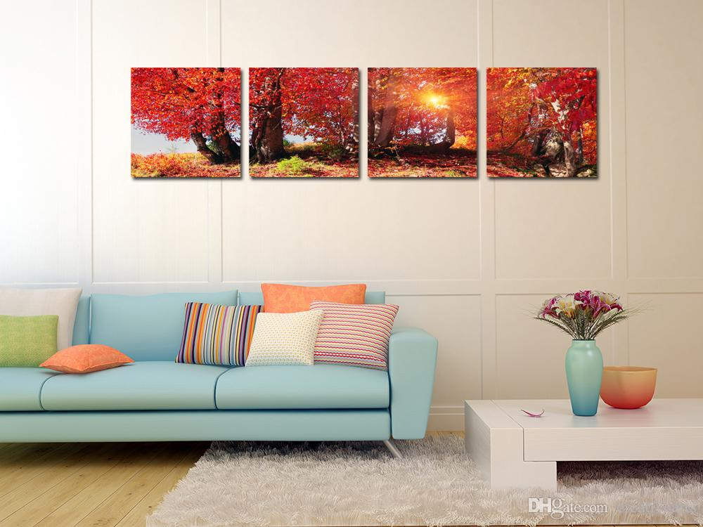 Red Maples in Sunshine Canvas Prints Wall Art Modern Decor Landscape Paintings Giclee Artwork for Living Room and Bedroom Canvas Set of 4