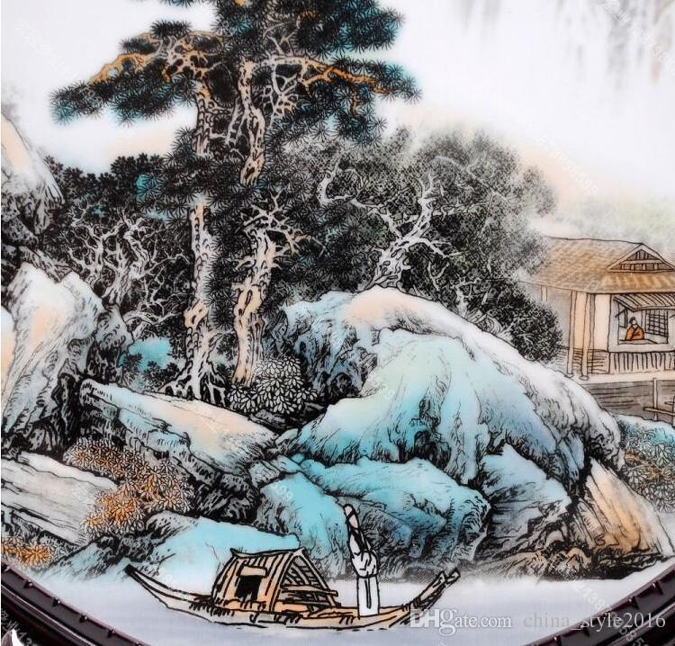 06 # cerámica de Jingdezhen pastel azul y blanco pintura del paisaje decoración de la placa decorativa decoración del hogar
