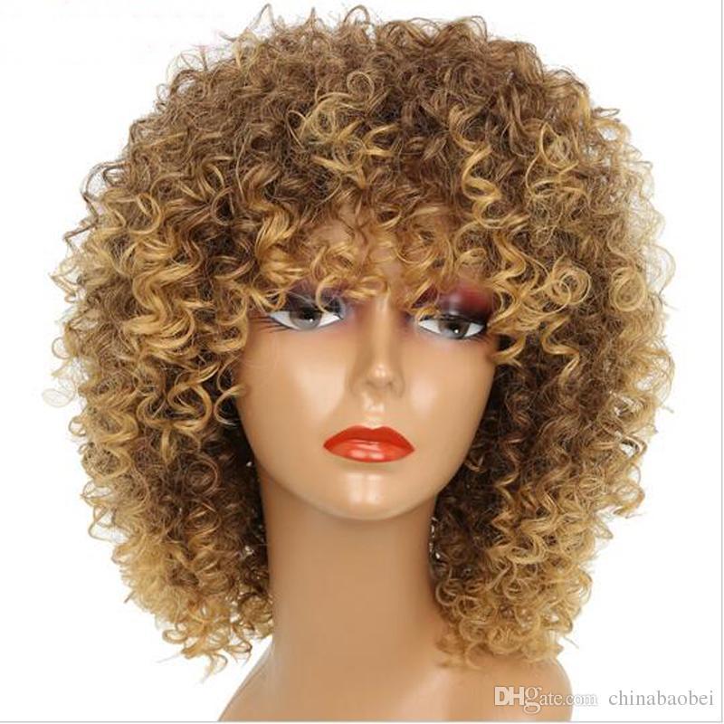 16 pouces longues afro crépus bouclés perruques pour les femmes blondes mixtes brun synthétique courtes perruques coiffure africaine