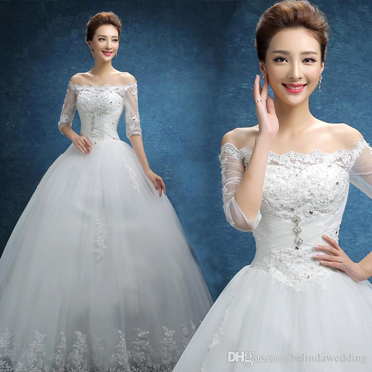 Princess Lace Bridal Ball Gowns Modest Country Wedding: Discount Country Vintage Lace Wedding Dresses Bateau Half
