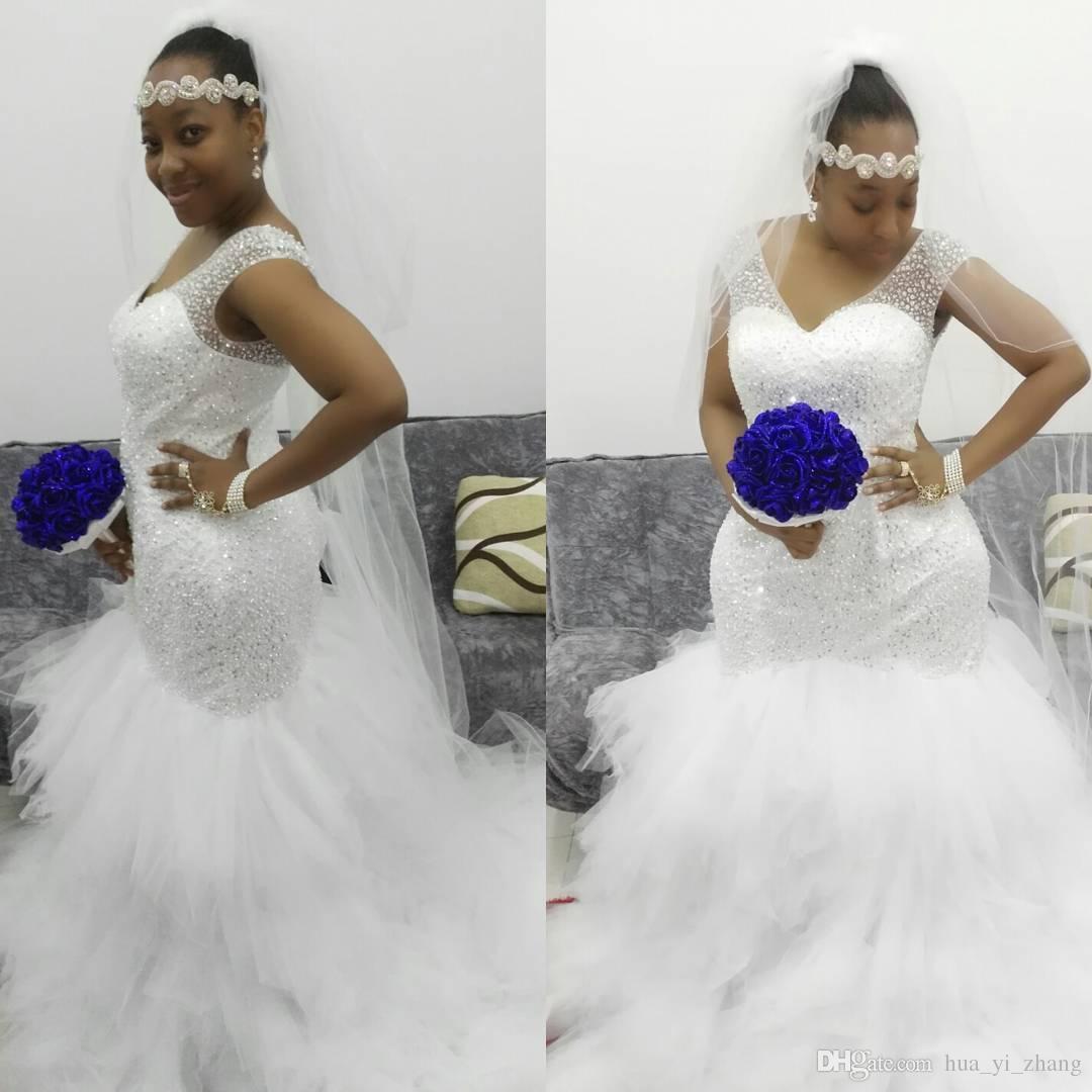 Plus Size Wedding Dresses With Color: 2017 Plus Sizes Full Beaded Wedding Dresses Sheer V Neck
