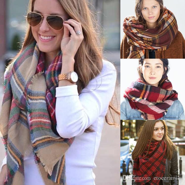 Bufandas de manta de tela escocesa de invierno Tamaño grande Nuevo diseñador Unisex Acrílico Básico Mantones de mujer Bufanda de tartán 2016 140 * 140 CM de gran tamaño Pashmina Chic