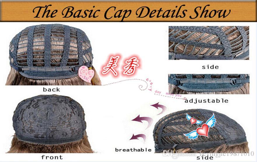 Xiu Zhi Mei qualidade Superior reta de seda curta Bob Perucas de Alto Grau de Cabelo Sintético Luz Cor Loira Como Imagens Em Camadas Perucas Frete Grátis
