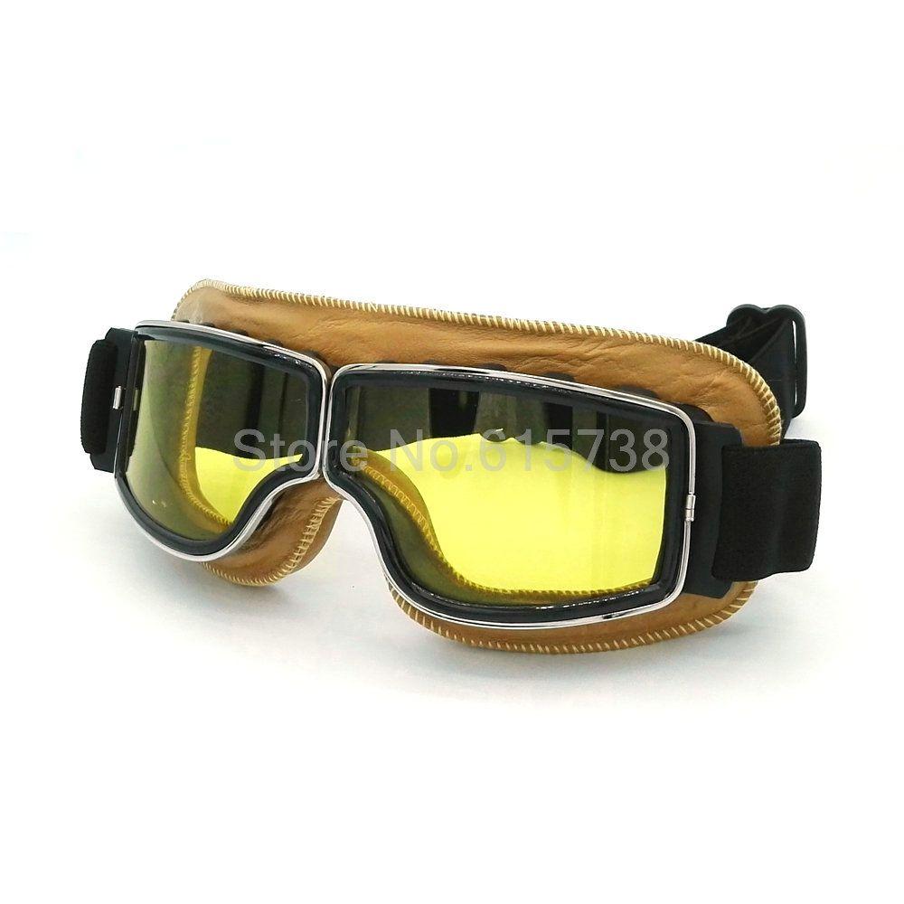 Brand new WWII Vintage for Harley style motorcycle goggles Pilot Motorbike goggles Retro Jet Helmet Eyewear lens
