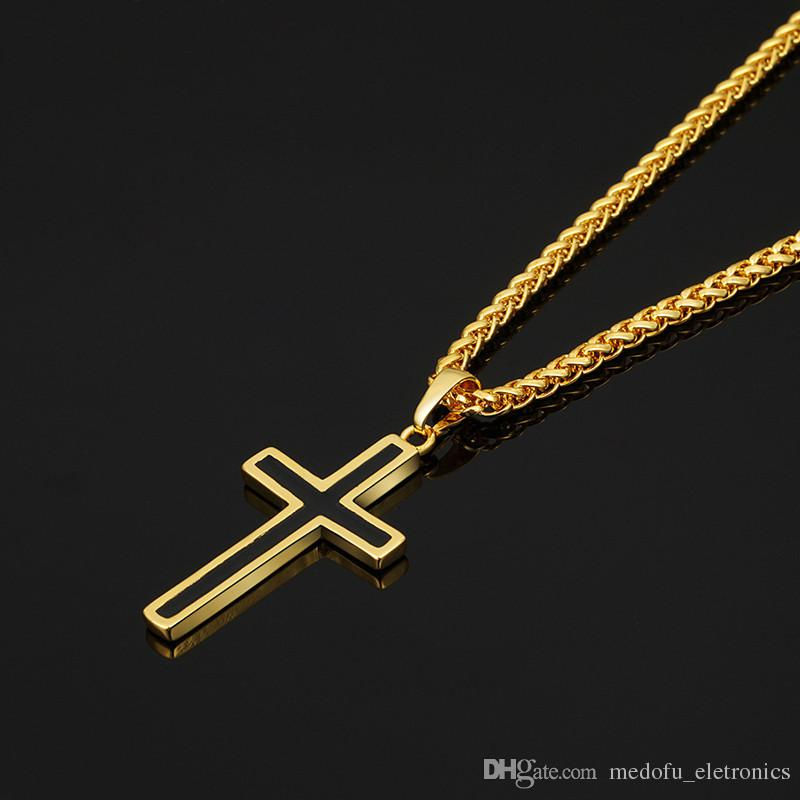 New Fashion Trendy 18 K Placcato Oro Giallo 925 Placcato Argento Christian Croce Ciondoli Collane Uomo Donna Bel Regalo JNL1028