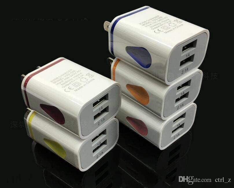 Allumez LED double USB ports accueil adaptateur AC nous eu plug chargeur mural pour iphone 6 samsung mobile
