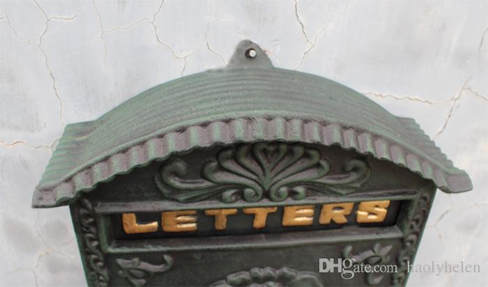 Antique Wall Mount Cast Aluminum Flower Mailbox Embossed Trim Decor Dark Green Metal Mail Letters for Post Box Yard Patio Garden Lockabled