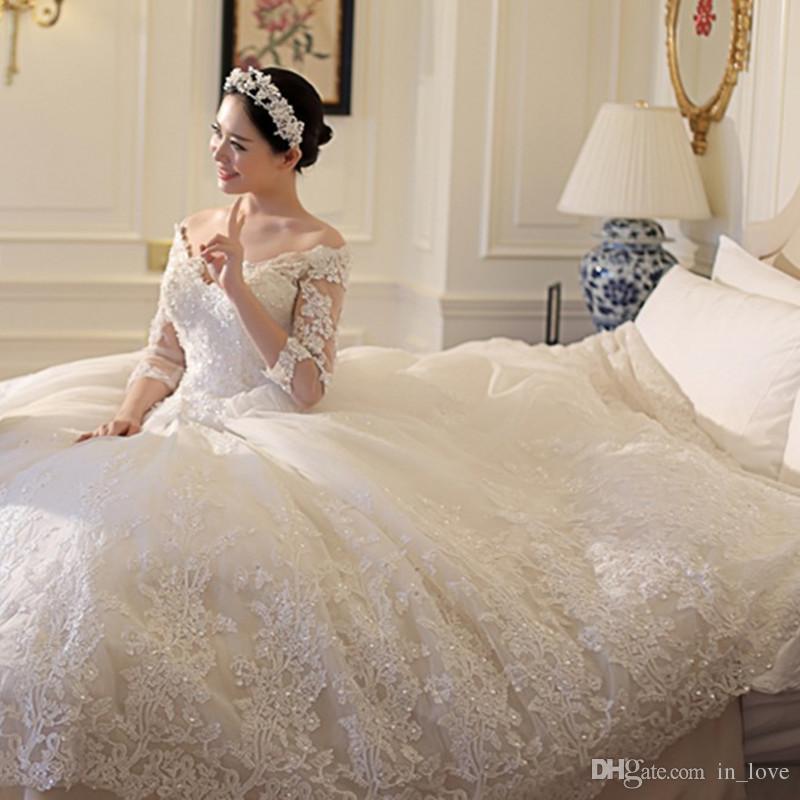 compre vestido de bola vestidos de novia 2017 cuello en v princesa