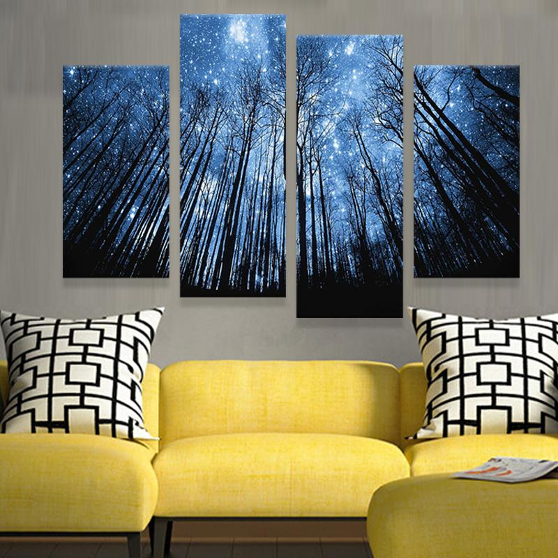 2017 4 Panels Modern Canvas Prints Artwork Beautiful Starry Sky Painting Wall Art Home Decor For Living Room Picture From Dagu001 4843