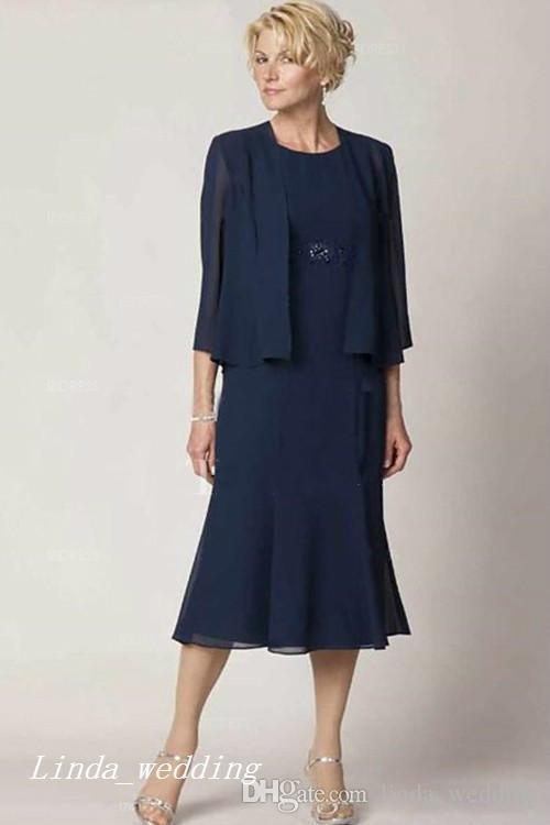 Темно-синий Платья Матери Невесты Жениха С Пиджаком Болеро Элегантный Шифоновое Свадебное Платье Высокого Качества