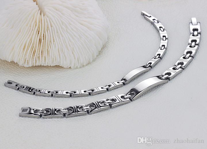 ZHF Bijoux Couple Hologramme Bracelet Guérison En Acier Inoxydable Bracelets Aimant Pierre Chaîne Lien Scalaire Énergie Équilibre GS8385