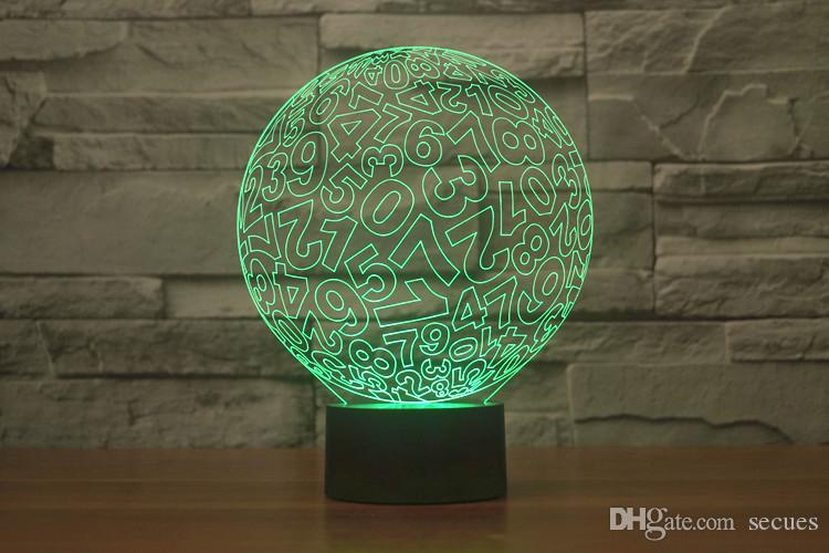 2017 Digit Ball Style 3D Optical Night Light 9 LEDs Night Light DC 5V Factory Wholesale