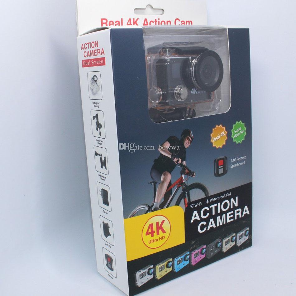 Cámara original EKEN H8 Pro con pantalla dual 4K 30fps Acción 1080P 120fps 720P 200fps + Control remoto a prueba de agua Super Cámara lenta Deportes DV DHL