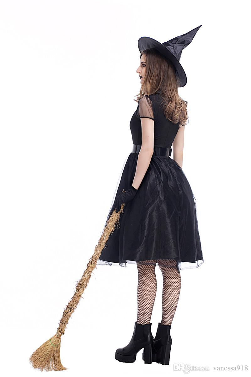 Adult Women Gothic Witch Sexy Black Magic Fancy Dress Mysterious Lady Dress Up Gioco di ruolo Costume di Halloween Witch Cosplay PS025