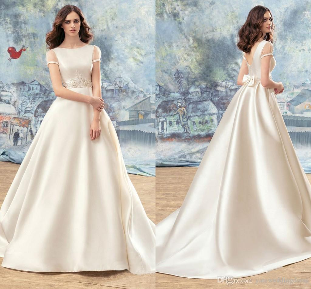 Discount Modest Wedding Dresses Vintage Simple Short Capped Sleeves ...