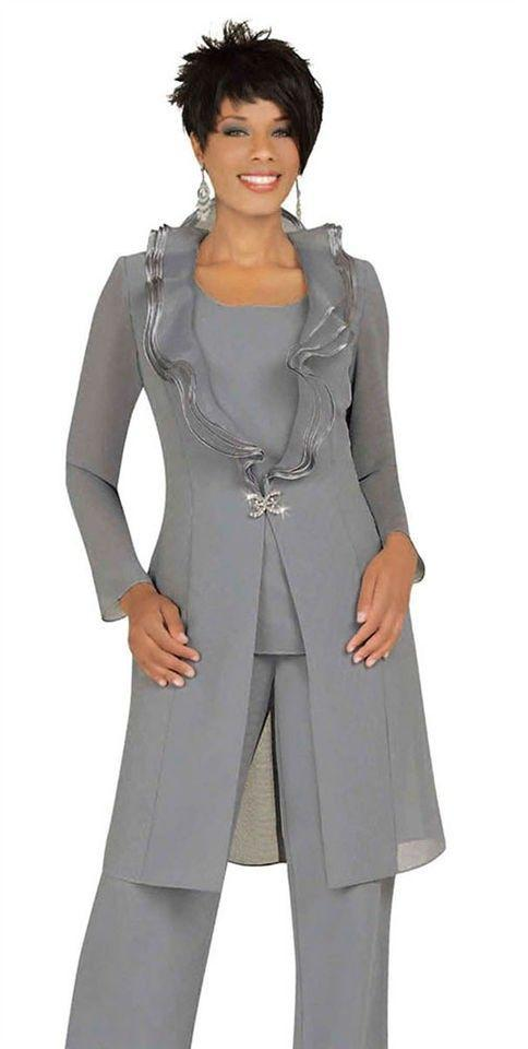Moda gris plateado Madre de la novia Vestidos Trajes de pantalón con chaqueta larga Escote único Un botón Túnica Pantalones Trajes de noche