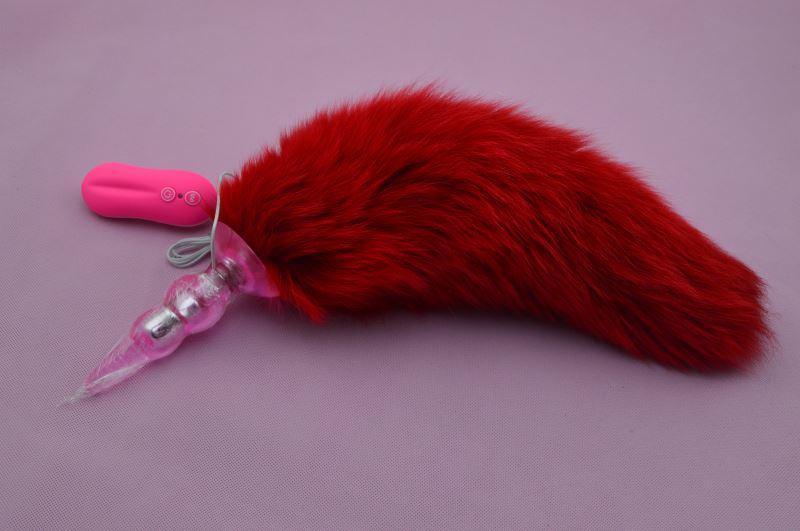 real big fox tail anal plug,10 frequency vibration anal butt plug