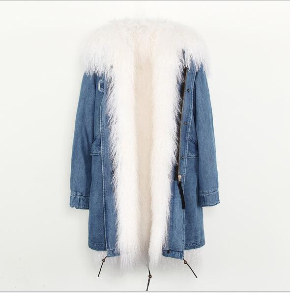 2018 Jazzevar blue Mongolia sheep fur lined Camouflage shell long parka warm coats with YKK zipper long jackets