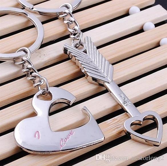 Sıcak Satış Çinko Alaşım Gümüş Kaplama Severler Hediye Çift Kalp Anahtarlık Moda Anahtarlık Anahtarlık Yaratıcı Anahtarlık