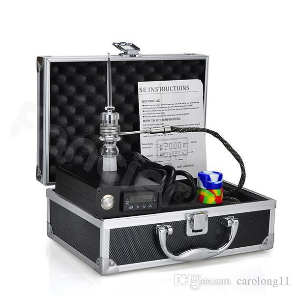 E Dab Tırnak Kuvars Tırnak Elektrikli Dab Tırnak Kutusu Komple Kiti ile Sıcaklık Kontrolörü için 100 w Rig Yağ Cam Bongs su borusu