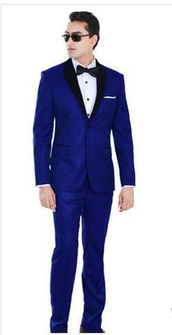 Slim Royal Blue Wedding Tuxedos For Groom and Groomsmen Black Shawl Lapel Prom Suits Two Buttons Mens Suits Jacket+Pants+Bow