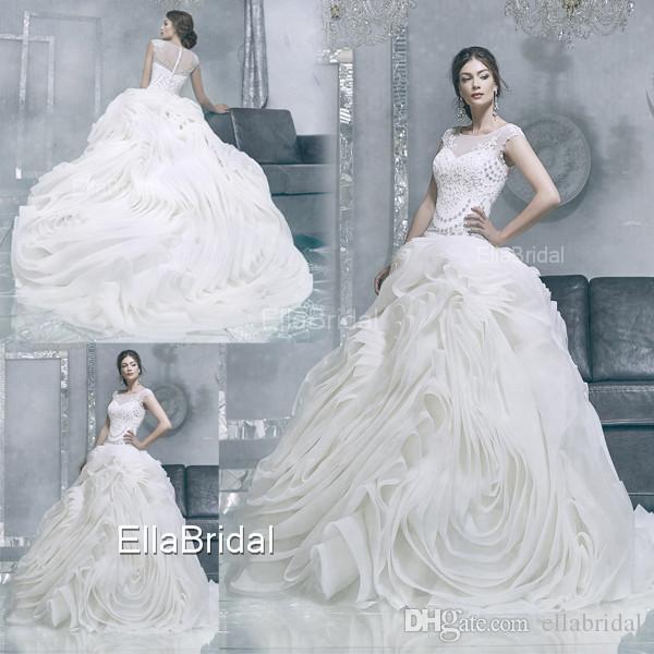 Luxury Ball Gown Wedding Dress Gorgeous Ruffles Big Skirt Crystal ...
