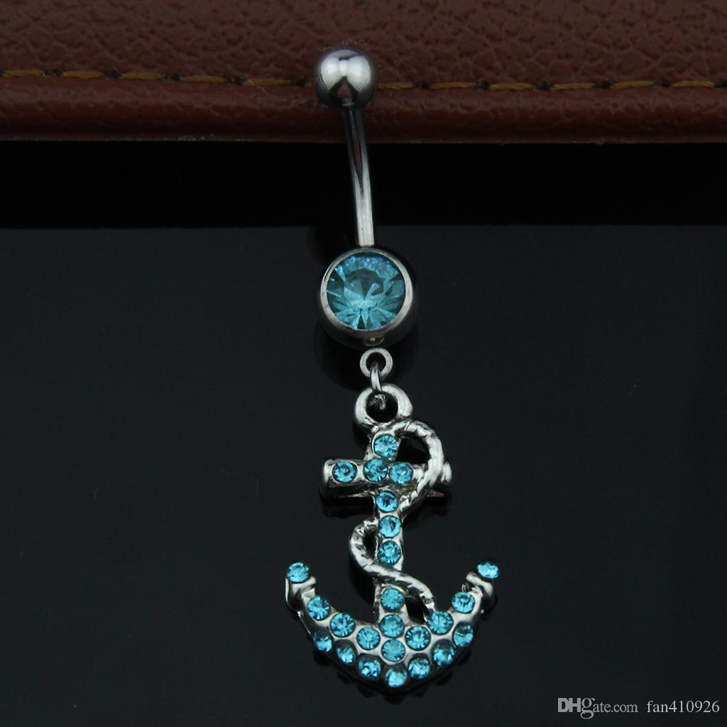 2016 Hot Clear Surgical Body Piercing Jewelry Steel Anchor Navel Belly Button Bar Ring Rhinestone Belly Ring